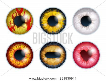 Fantasy Eyes Set - Assorted Colors. Iris Pupils Design. Color Contact Lenses. Colorful Eyes Realisti