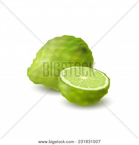 Isolated Colored Green Whole And Half Of Juicy Bergamot, Kaffir Lime With Shadow On White Background