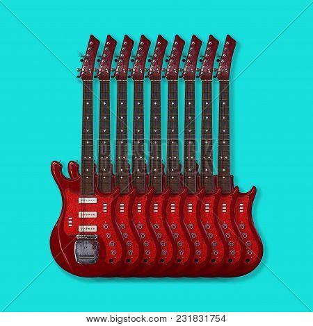 Musical Instrument - Nine Red Vintage Electric Guitar On A Blue Background