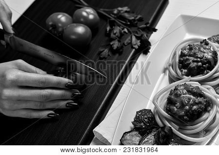 Italian Pasta With Meat Black And White Poster