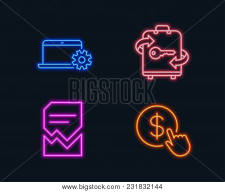 Neon Lights. Set Of Notebook Service, Luggage And Corrupted File Icons. Buy Currency Sign. Computer