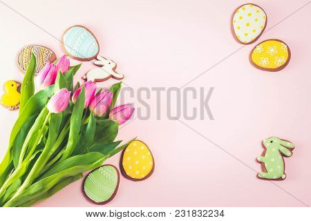 Eater Handmade Cookies With Tulip Flowers Bouquet On Pink Background, Retro Toned