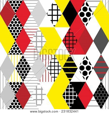 Geometric elements Memphis Postmodern Retro fashion style 80-90s. texture asymmetrical shapes Rhombus triangle circle Seamless pattern Burgundy red black gray yellow background for site fabric. Vector illustration poster