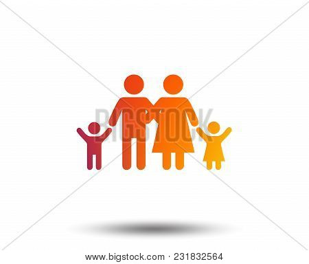 Family Icon. Parents With Children Symbol. Family Insurance. Blurred Gradient Design Element. Vivid
