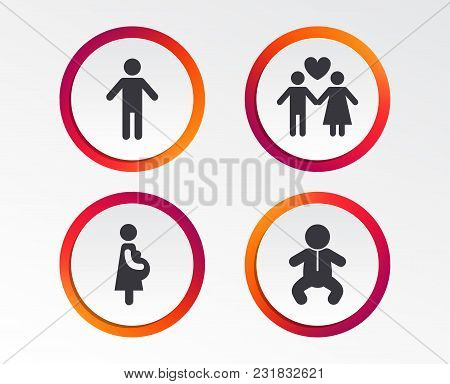 Family Lifetime Icons. Couple Love, Pregnancy And Birth Of A Child Symbols. Human Male Person Sign.