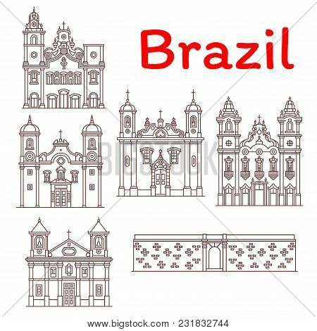 Brazil Architecture Landmarks And Famous Building Facade Line Icons. Vector Set Of Brazilian Castell