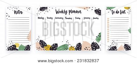 Creative Weekly Planner With Week Days, Sheet For Notes And To Do List Templates Decorated With Pain