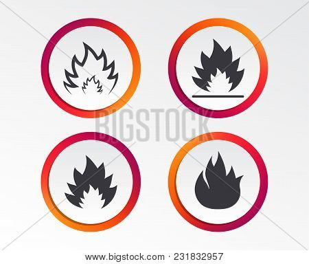 Fire Flame Icons. Heat Symbols. Inflammable Signs. Infographic Design Buttons. Circle Templates. Vec