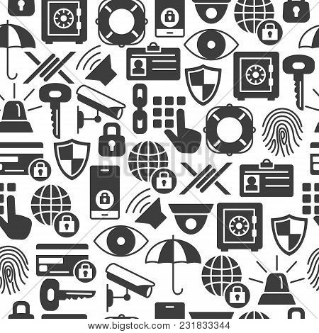 Security And Protection Seamless Pattern With Silhouette Icons. Data Security And Safe Background Pr