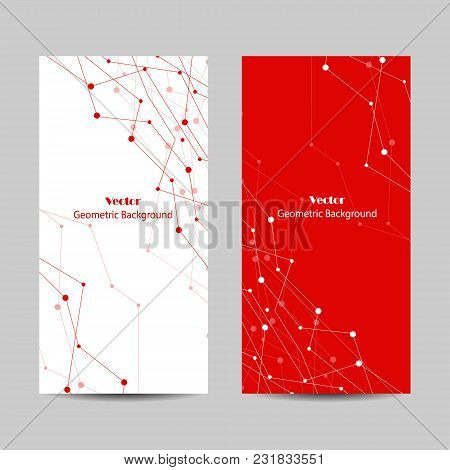 Set Of Vertical Banners. Abstract Geometric Background With Connected Lines And Dots. Vector Illustr