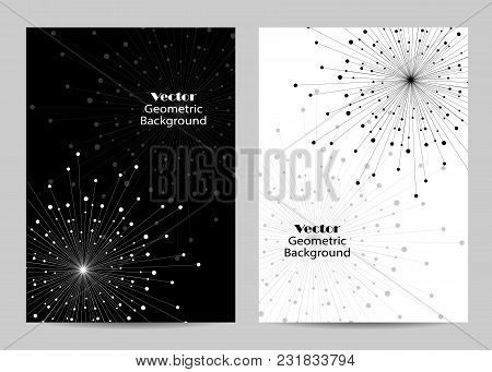 Modern Vector Templates For Brochure Cover In A4 Size. Abstract Geometric Background With Connected