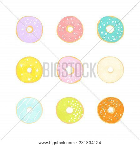 Collection With Glazed Donuts In Pastel Colors. Vector Cute Illustration.