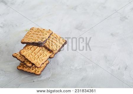 Square Cookies Arranged In Pattern On Light Textured Background, Close-up, Shallow Depth Of Field, S