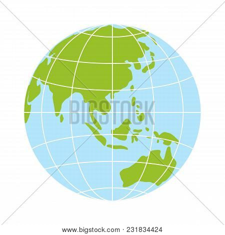 World Globe Icon. Vector Earth Logo. Web Global Symbol With Grid