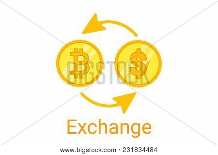 Bitcoin Exchange Logo On White Background. Gold Coing. Concept For Internet Banking. Vector Illustra
