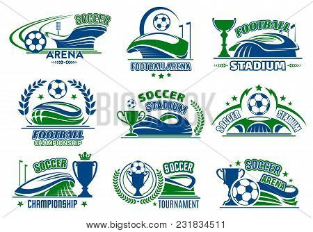Soccer Championship Sport Icons Design Templates Set. Football Match Or Cup Vector Isolated Heraldic