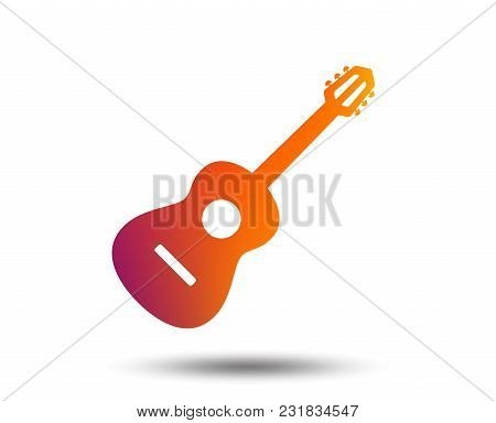 Acoustic Guitar Sign Icon. Music Symbol. Blurred Gradient Design Element. Vivid Graphic Flat Icon. V