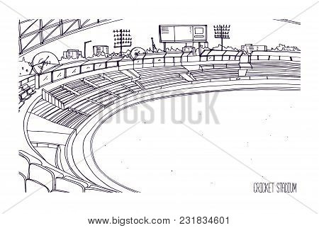 Freehand Sketch Of Cricket Stadium With Rows Of Seats, Electronic Scoreboard And Grassy Field Or Law