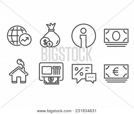 Set Of World Statistics, Cash And Atm Icons. Cash Money, Discounts And Euro Currency Signs. Global R