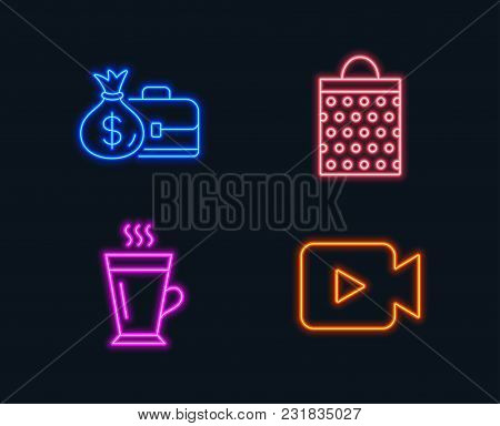 Neon Lights. Set Of Salary, Shopping Bag And Latte Icons. Video Camera Sign. Diplomat With Money Bag