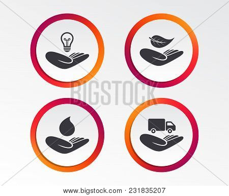 Helping Hands Icons. Intellectual Property Insurance Symbol. Delivery Truck Sign. Save Nature Leaf A