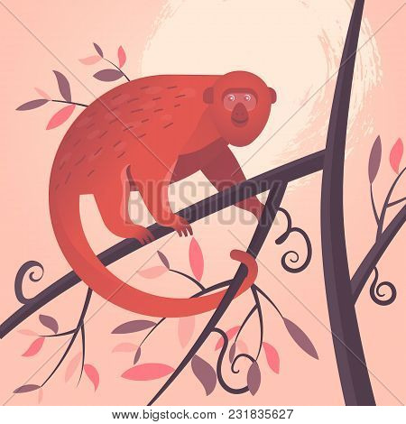 Cartoon Red Colombian Monkey Hanging On A Tree Branch On The Jungle Background. Vector Illustration