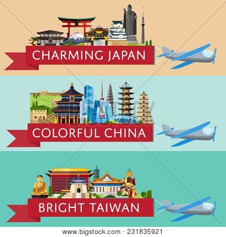 Worldwide Travel Horizontal Flyers. Plane With Banner And Famous Architectural Attractions. Charming