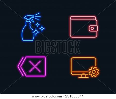 Neon Lights. Set Of Washing Cleanser, Money Wallet And Remove Icons. Monitor Settings Sign. Housekee