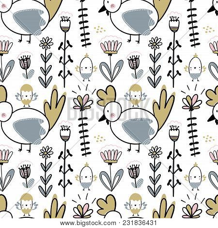 Easter Seamless Pattern With Flowers, Chickens And Chiks. Handwritten Vector Illustration Isolated O