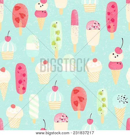 Retro Seamless Pattern With Different Ice Cream In Pastel Colors. Vector Illustration On Old Backgro