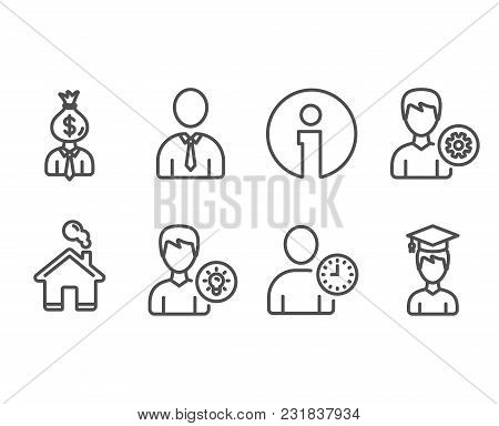 Set Of Manager, Time Management And Human Icons. Person Idea, Support And Student Signs. Work Profit