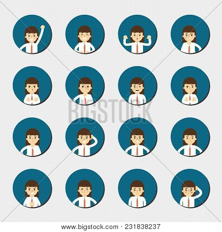 Cartoon Girl In Various Poses And Facial Expressions. People Emotional Round Icons Isolated On White
