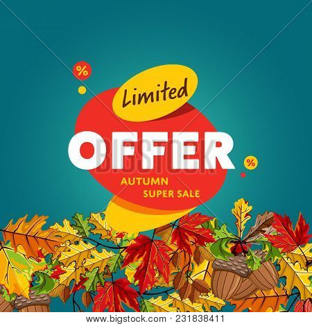 Autumn Sale Design Template, Vector Illustration. Limited Offer, Autumn Super Sale Banner With Color