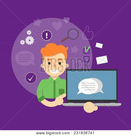 Smiling Cartoon Boy Holding Laptop With Speech Bubbles On Screen. Social Media Banner On Perpl Backg