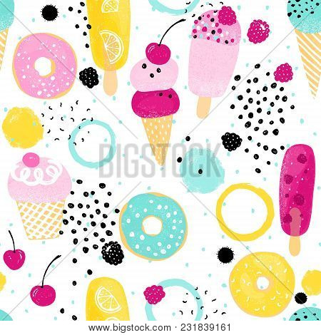 Abstraction Summer Pattern With Colorful Ice Cream, Donuts And Barries. Vector Seamless Illustration