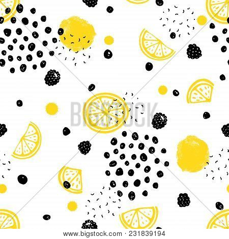 Abstract Seamless Pattern With Fruits And Dots. Vector Illustration Yellow, Black And White Colors.