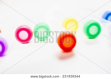 Chemical Tubes With Colorful Caps. Medical Laboratory Research. Drug Discovery, Pharmacology And Bio