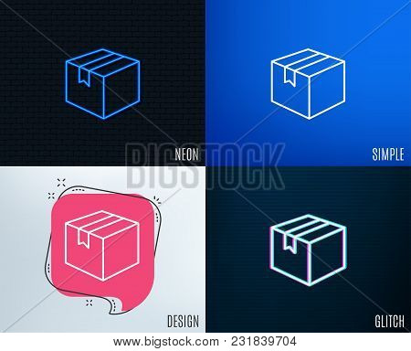 Glitch, Neon Effect. Shipping Box Line Icon. Logistics Delivery Sign. Parcels Tracking Symbol. Trend