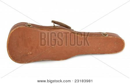 Old Violin Case With A Bow On A White Background Isolated