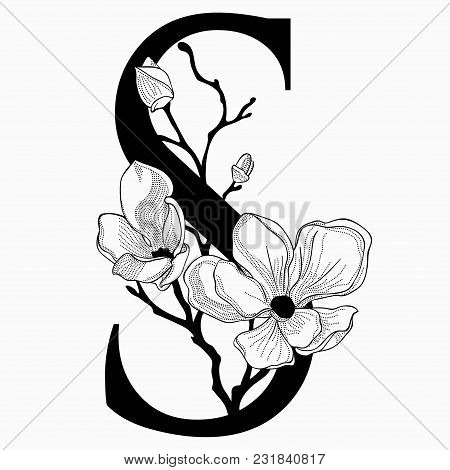Vector Hand Drawn Floral S Monogram Or Logo. Uppercase Letter S With Flowers And Branches. Cherry Bl