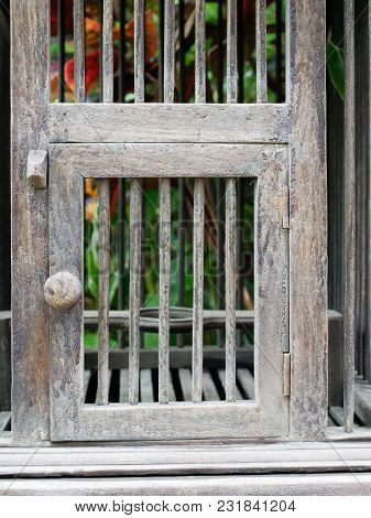 Door Of Empty Wooden Bird Cage In Retro Style Show Concepts Of Entrance, Taking Chance, Security, Co