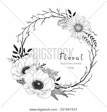 Hand Drawn Wreath With Flowers Anemone And Chamomile, Dry Branches And Leaves. Vector Floral Illustr