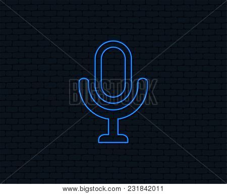 Neon Light. Microphone Icon. Speaker Symbol. Live Music Sign. Glowing Graphic Design. Brick Wall. Ve