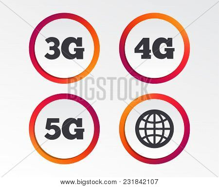 Mobile Telecommunications Icons. 3g, 4g And 5g Technology Symbols. World Globe Sign. Infographic Des