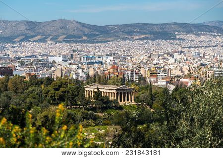 View To Hephaestus Temple From Acropolis, Athens, Greece.