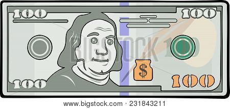 Art With Funny Stylized One Hundred Bucks With Black Contour