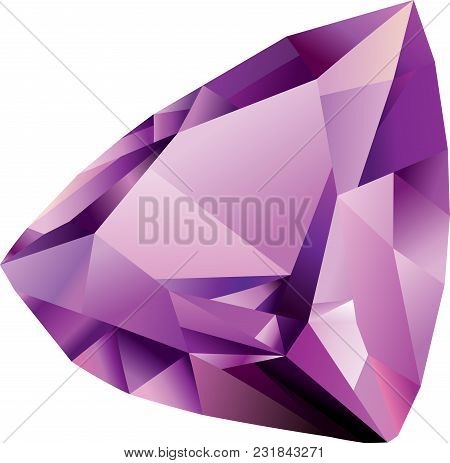 Isolated Vector Shiny Beautiful Violet Faceted Amethyst On White Background