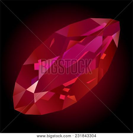 Art With Beautiful Shiny Faceted Red Ruby On Dark Background