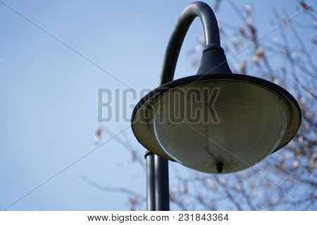 Street Lantern In Sunny Day, Turned Off, Urban Background