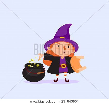 Halloween Witch Cooks A Magic Potion In A Cauldron And Reads The Recipe In The Scroll Girl In A Witc